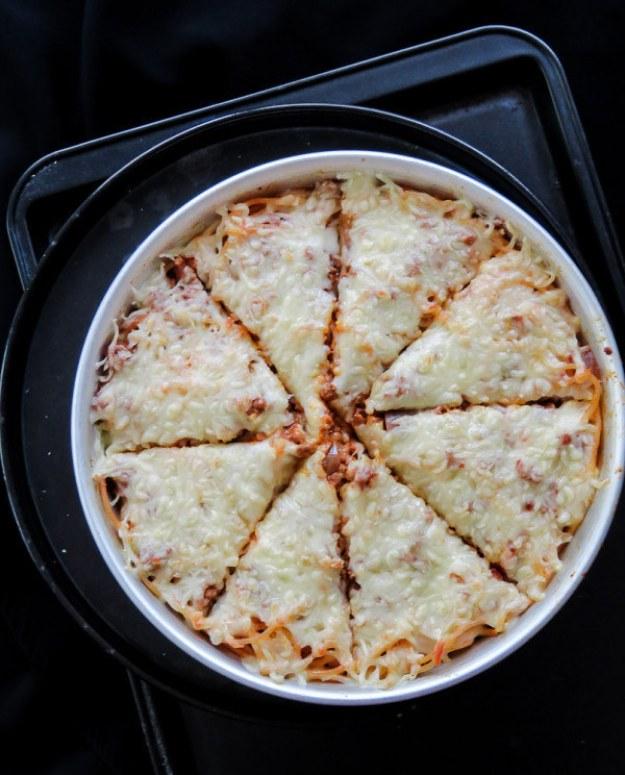 Deep Dish Spaghetti Pizza