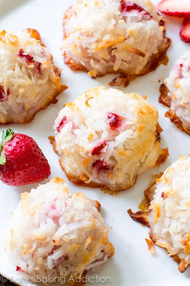 Coconut Macaroons with Fresh Strawberries