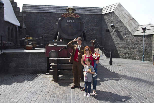 Upon first entering The Wizarding World of Harry Potter at Universal Studios Hollywood, grab a photo with the conductor in front of the Hogwarts Express.