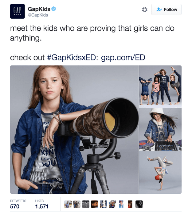On Saturday, the @GapKids Twitter account posted a photo of an ad campaign featuring young girls.