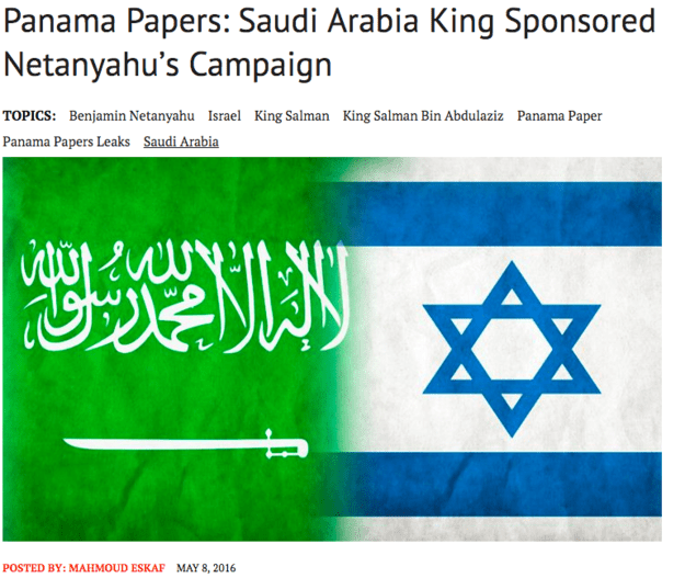 The fake story appears to have originated with the Middle East Observer website. It published a story on May 8 that consists of the fabricated Herzog quote and several paragraphs of background information on the Panama Papers.