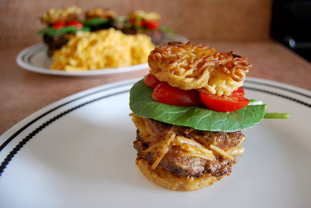 Mac 'n Cheese-Stuffed Ramen Burger Sliders