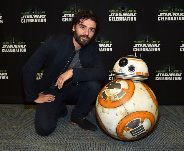 Sometimes Oscar Isaac poses next to his best friend and soulmate, BB8.