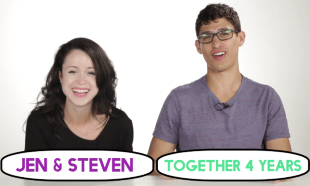 First up, we had Steven and Jen, who've been dating for four years. You'd think Steve would be a pro at Jen's makeup by now.