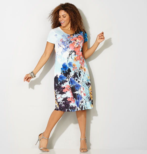 This abstract floral dress that's definitely office-worthy.
