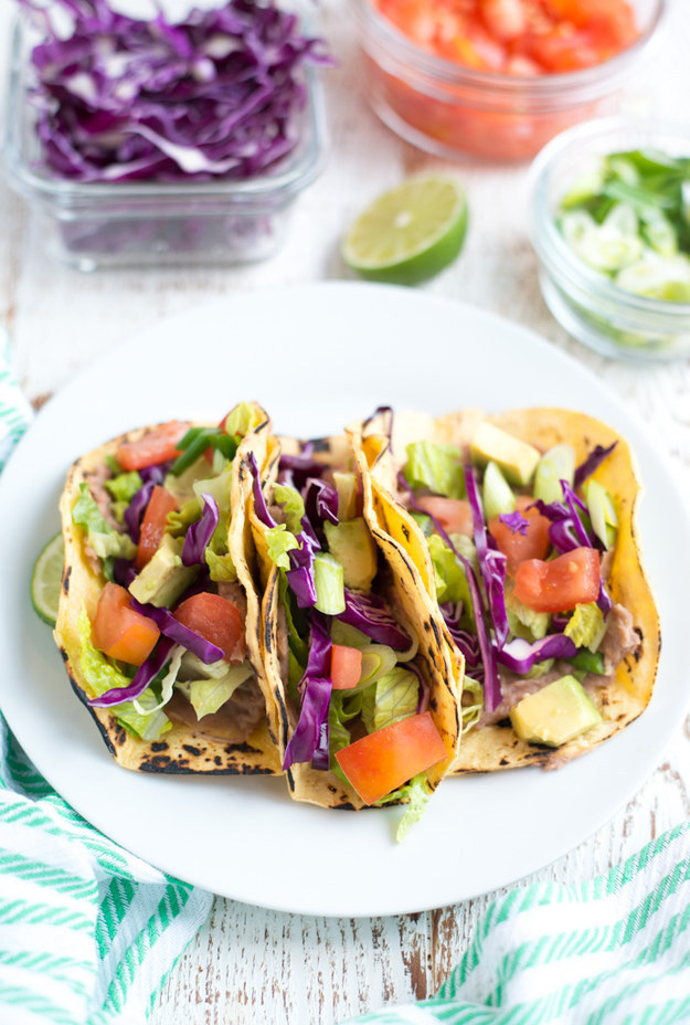 Refried Bean Tacos with Veggies