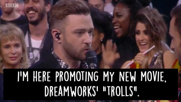 He has been in Europe promoting his new movie, Dreamworks' Trolls.