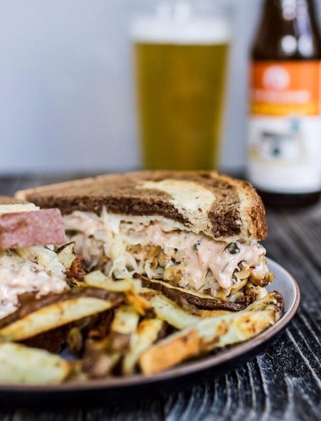 Beer Baked Tempeh Reuben Sandwiches