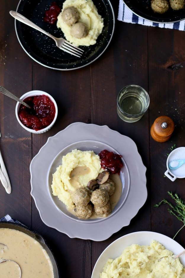 Swedish Meatballs with Mashed Potatoes and Cranberry Sauce