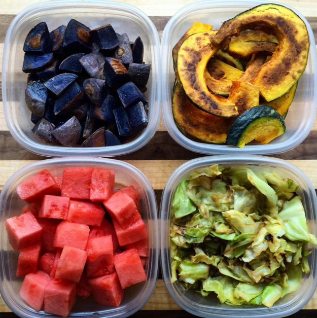 Don't just prep cooked, savory food. Cut up raw fruit like melon or mango, so that it's super convenient to snack on.