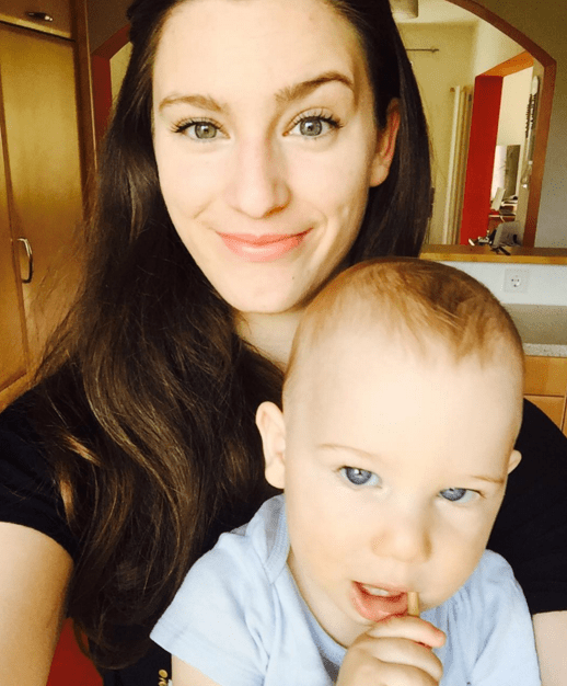 This is Naomi Jael Covert, a 21-year-old from Vilseck, Germany. She is a full-time army wife. Here she is with her 10-month-old son, TJ.