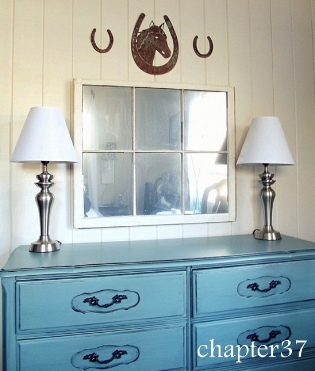 Spray a thrifted window or glass picture frame with Looking Glass spray paint to make an oversized mirror.