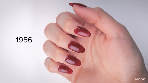 In the '40s and '50s, it was all about deep reds and almond-shaped nails.