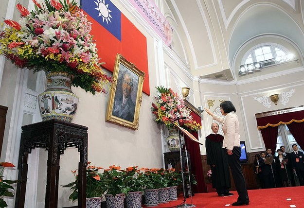 "This is the moment of a solemn ceremony when Tsai, or ""Xiao Ing"" — as her Taiwanese fans affectionately caller — took her oath of office before a portrait of Sun Yat-sen, the first president of the Republic of China inside the Presidential Palace in Taipei."