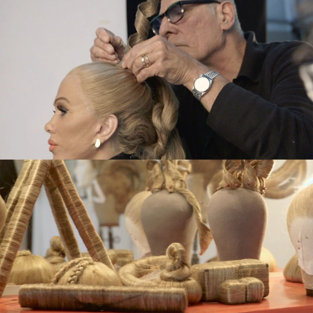 And after her makeup had been applied, hairstylist and wig designer Aldo Signoretti would finish off the look with some ornate wig action.