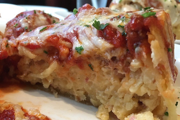This is what the Meatball Deep Dish pie looks like up close.