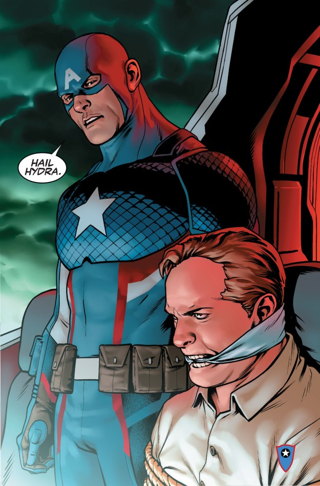 Captain America: Steve Rogers – by Nick Spencer, Jesus Saiz, and VC's Joe Caramagna – sees Steve back as Cap alongside Sam Wilson. It also sees the revelation that Steve Rogers is a member of Hydra. And ~has been all along.~ *CUE RECORD-SCRATCH NOISE.*