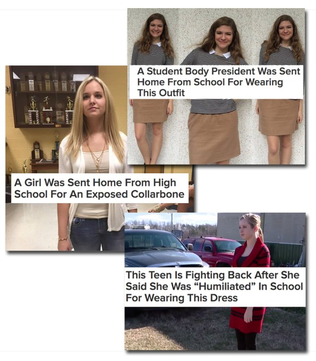 Which, OK, sure...but then why is it that girls keep getting in trouble for wearing outfits that functional adult women (including myself) wear ALL THE TIME?