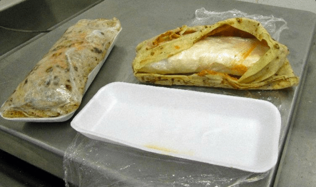 A narcotics-detection canine led officers to the woman's burrito, inside which officers discovered more than a pound of meth worth more than $3,000.