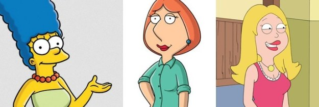 Marge Simpson, Lois Griffin, and Francine Smith