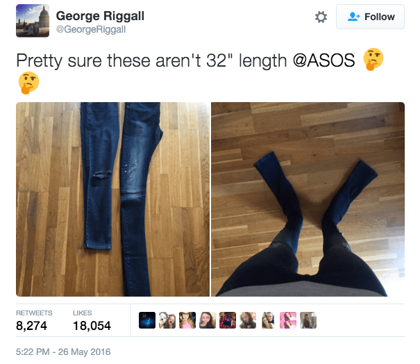 Online clothing retailer ASOS has been in a bit of a pickle lately, with people taking to social media to complain about their jeans being really, really fuckin' long.
