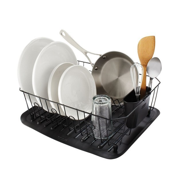 Wash any dishes that are in your sink (or load them in the dishwasher and run it), then dry them and put them away.