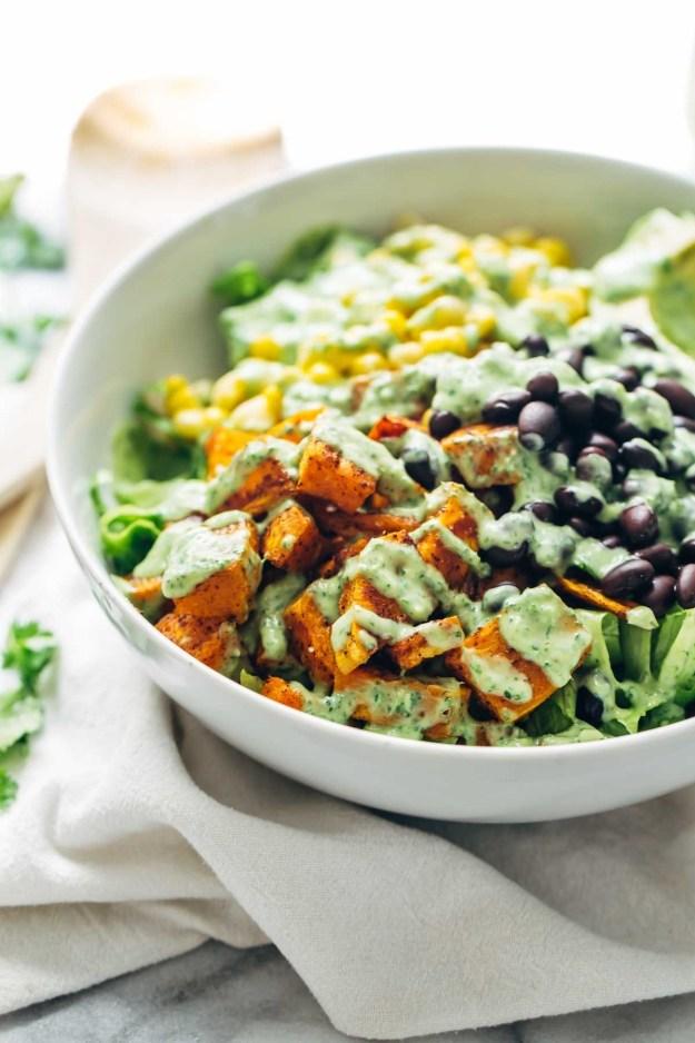 Spicy Southwestern Salad with Avocado Dressing