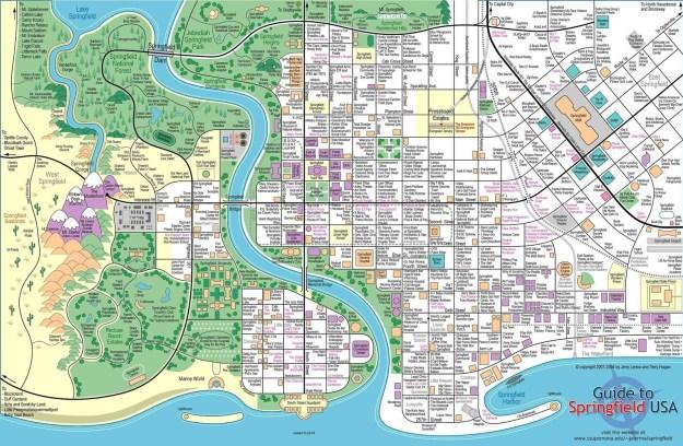Este mapa superdetallado de Springfield, hogar de los Simpson: