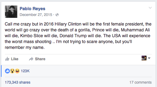 Pablo Reyes posted this status recently on his Facebook account. Only, if you look at it, it would seem like he actually posted it last December. In the status he makes all kinds of predictions, including the death of Harambe the gorilla, Prince, and Muhammad Ali.
