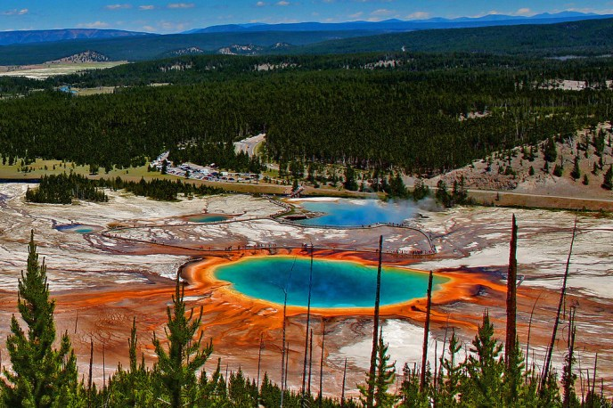 The Grand Prismatic Spring at Yellowstone National Park in Wyoming is straight out of a dream.