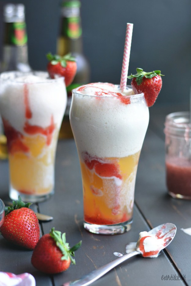 Strawberry Beer Floats