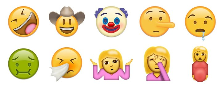 """A bunch of new people-related emojis have been added, such as the """"rolling on the floor laughing"""" face, the creepy clown, and a pregnant woman."""