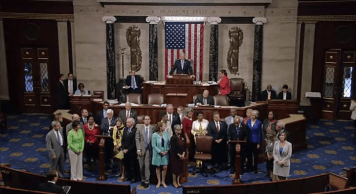 House Democrats stood up on the floor of the chamber Tuesday and staged a sit-in to force a vote on gun violence.
