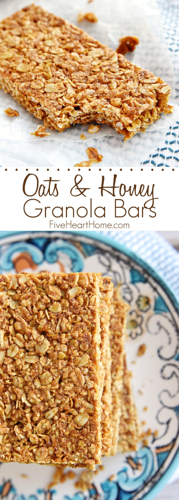 Crumble oats and nuts together to make tasty granola bars.