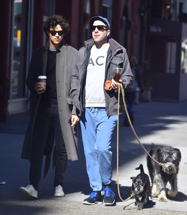 When they walked with coffee (one hot, one iced) in their hands.