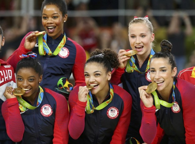 Gabby Douglas, an Olympic all-around champion, helped lead the U.S. women's gymnastics team to gold in the team final at the Rio Olympics on Tuesday.