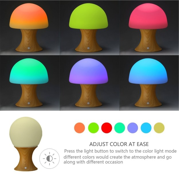 A malleable mushroom-shaped lamp that glows in a variety of different colors and can be set to turn off on a timer.