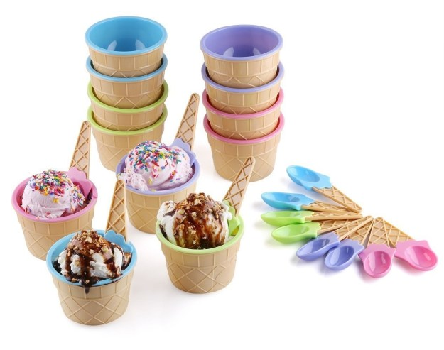 A set of dessert bowls and spoons to use at an ice cream sundae party.