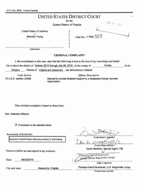 Here is the first page of the criminal complaint against Young.