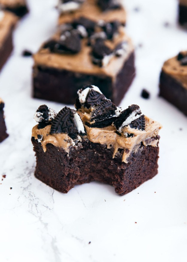 Mocha Brownies With Coffee Frosting and Crumbled Oreos