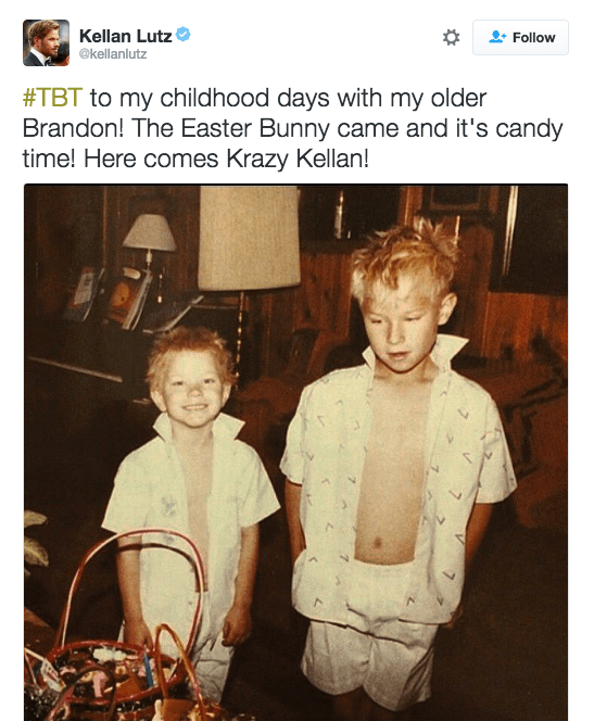 Kellan Lutz posted a funny photo of him and his brother rocking almost-matching shirts and spiky hair.