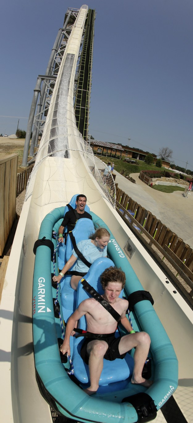 The 168-foot-tall Verrückt water slide is the tallest in the world and opened in 2014.