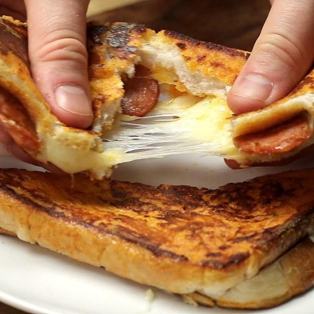 Eggy bread pizza toastie