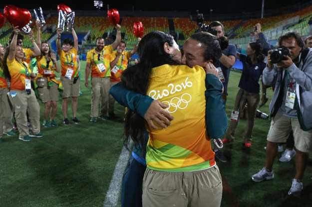 After the medal ceremony ended, Rio volunteer Marjorie Enya entered the pitch looking for her girlfriend, Brazilian player Isadora Cerullo.