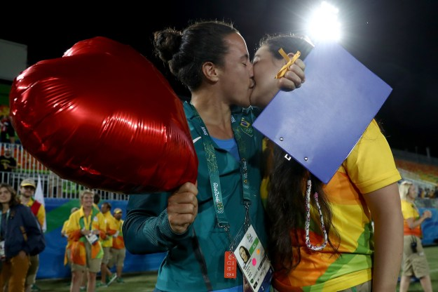 Shortly after Australia won the first ever women's rugby Olympic gold on Monday night, something even more special happened.
