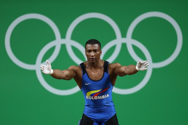 This is Colombian weightlifter Óscar Figueroa. He competed Tuesday in the final of the men's 62 kilogram weightlifting event at the Rio Olympics.