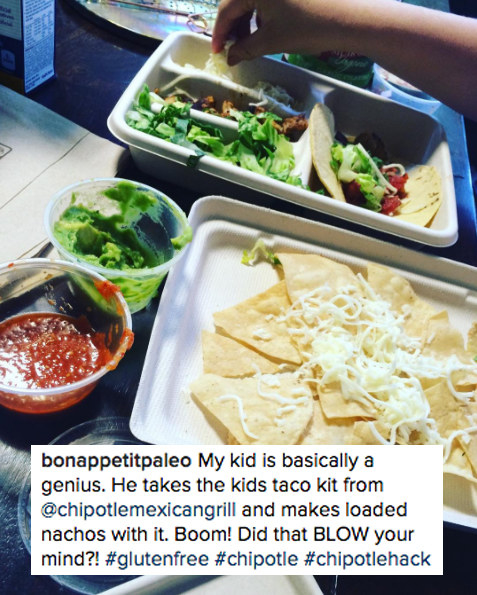 Order the kids' taco meal and make your own nachos: