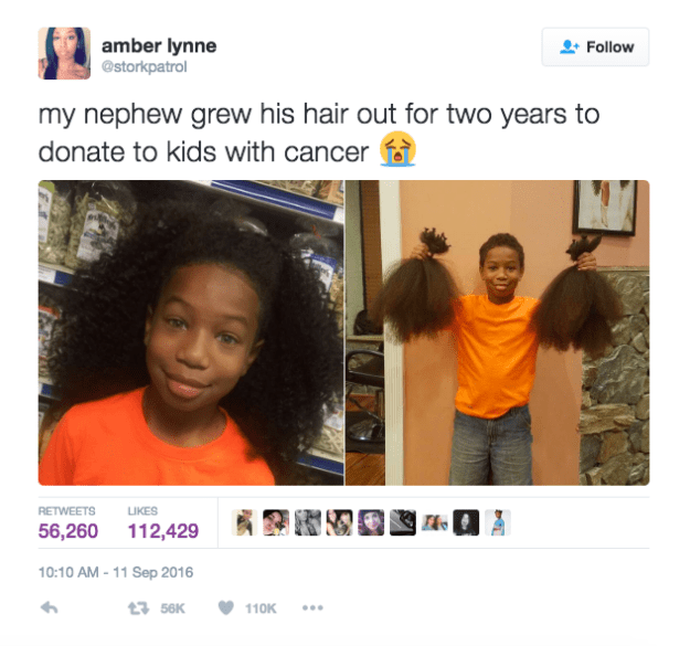 Ray tweeted the photos of him before and after the haircut, which have since gone viral, being retweeted more than 56,000 times.