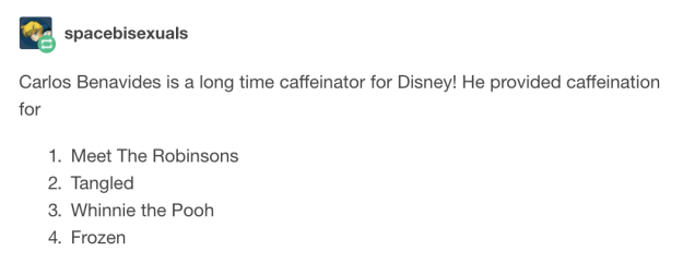 "People quickly found that he was also a professional ""caffeinator"" on other major film productions."
