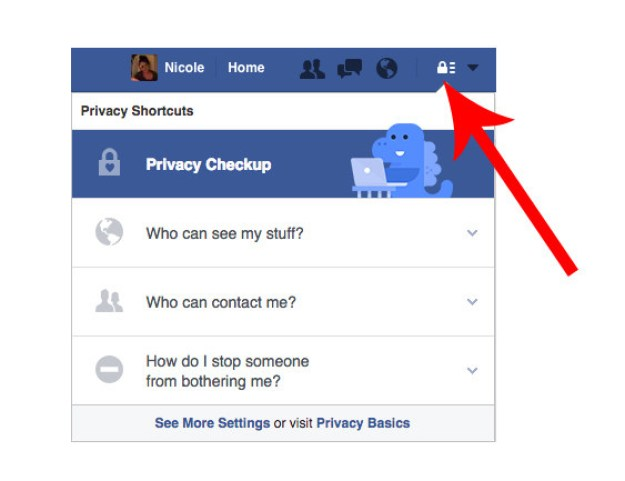 You can always check up on your settings by clicking on the padlock icon in the top right corner of the News Feed.